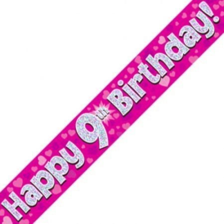 Pink Holographic Banner - Happy 9th Birthday