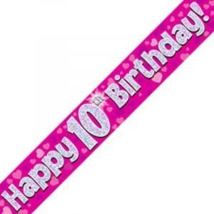 Pink Holographic Banner - Happy 10th Birthday