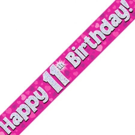 Pink Holographic Banner - Happy 11th Birthday