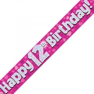 Pink Holographic Banner - Happy 12th Birthday