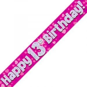 Pink Holographic Banner - Happy 13th Birthday