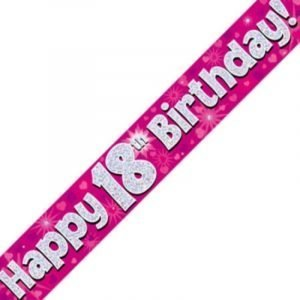 Pink Holographic Banner - Happy 18th Birthday