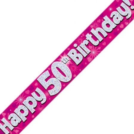 Pink Holographic Banner - Happy 50th Birthday
