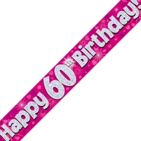 Pink Holographic Banner - Happy 60th Birthday