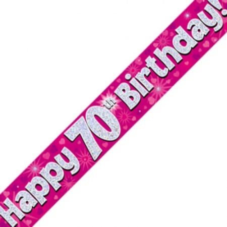 Pink Holographic Banner - Happy 70th Birthday