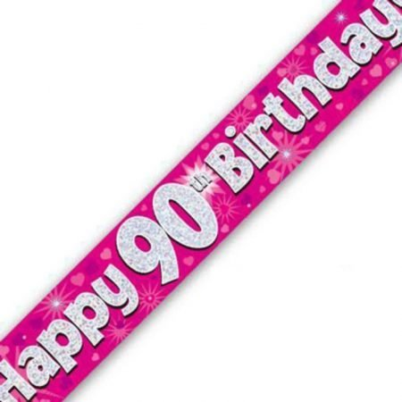 Pink Holographic Banner - Happy 90th Birthday