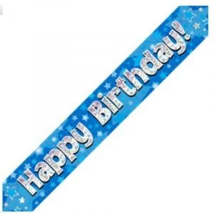 Blue Holographic Banner - Happy Birthday