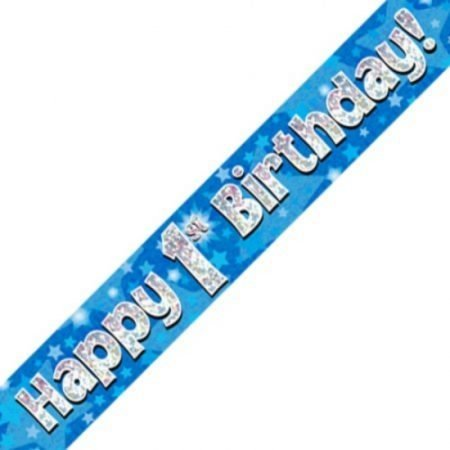 Blue Holographic Banner - Happy 1st Birthday