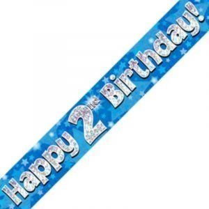 Blue Holographic Banner - Happy 2nd Birthday