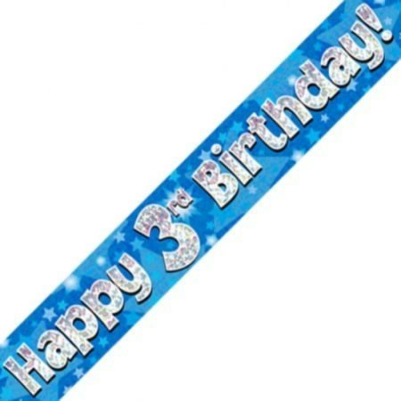 Blue Holographic Banner - Happy 3rd Birthday