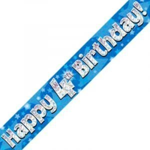 Blue Holographic Banner - Happy 4th Birthday
