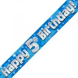 Blue Holographic Banner - Happy 5th Birthday