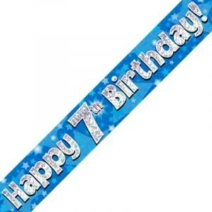 Blue Holographic Banner - Happy 7th Birthday