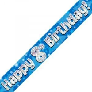 Blue Holographic Banner - Happy 8th Birthday