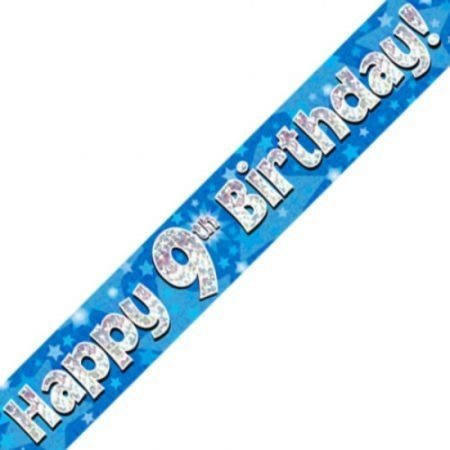 Blue Holographic Banner - Happy 9th Birthday