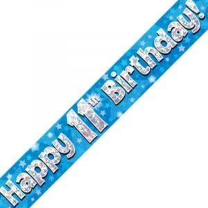 Blue Holographic Banner - Happy 11th Birthday