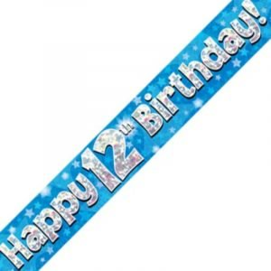 Blue Holographic Banner - Happy 12th Birthday