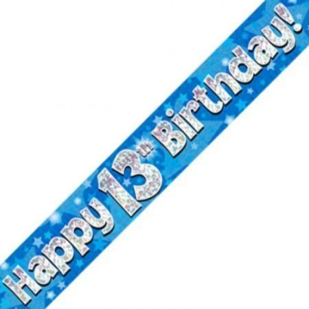 Blue Holographic Banner - Happy 13th Birthday