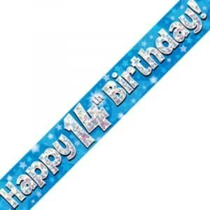 Blue Holographic Banner - Happy 14th Birthday