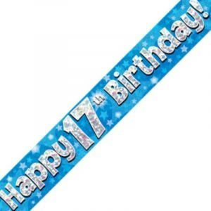 Blue Holographic Banner - Happy 17th Birthday