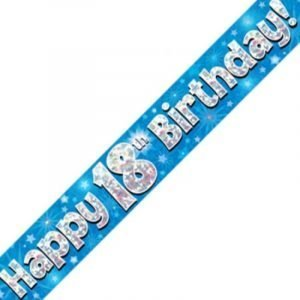 Blue Holographic Banner - Happy 18th Birthday