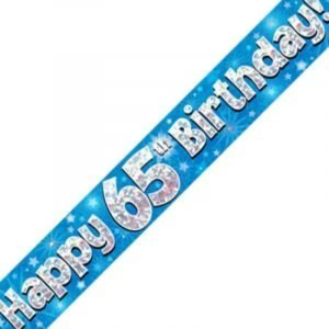 Blue Holographic Banner - Happy 65th Birthday