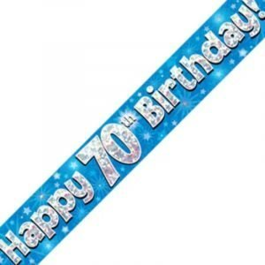 Blue Holographic Banner - Happy 70th Birthday