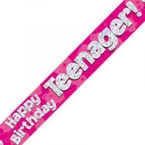 Pink Holographic Banner - Happy Birthday Teenager