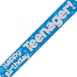 Blue Holographic Banner - Happy Birthday Teenager