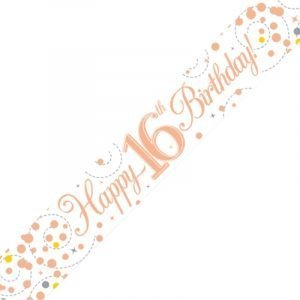White & Rose Gold Sparkling Fizz Banner - Happy 16th Birthday