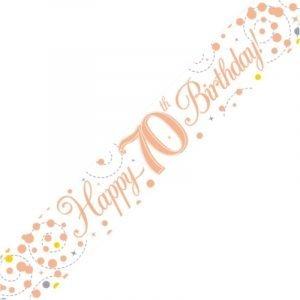 White & Rose Gold Sparkling Fizz Banner - Happy 70th Birthday