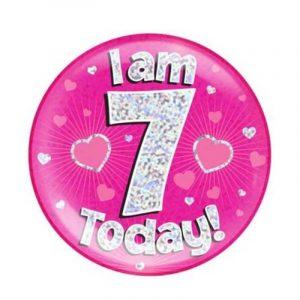 Age 7 giant birthday badge