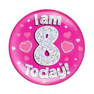 Age 8 giant birthday badge