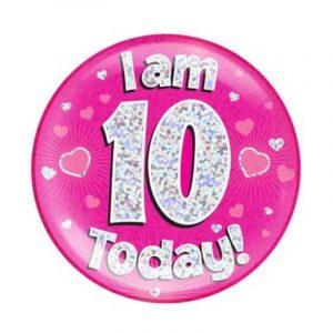 Age 10 giant birthday badge