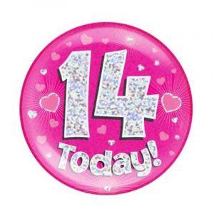 Age 14 giant birthday badge