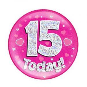 Age 15 giant birthday badge