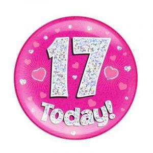Age 17 giant birthday badge