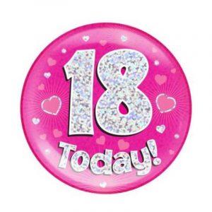 Age 18 giant birthday badge