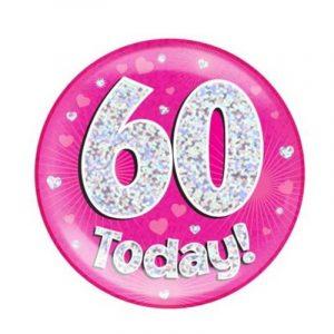 Age 60 giant birthday badge