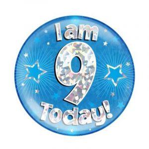 Age 9 giant birthday badge