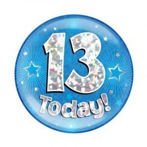 Age 13 giant birthday badge