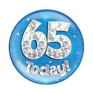 Age 65 giant birthday badge