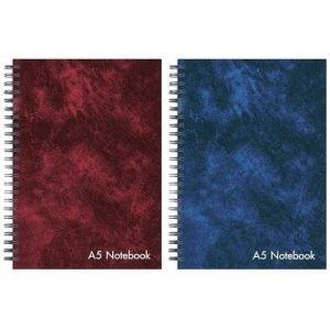 A4 Wirebound Hardbacked Leather Effect Notebook