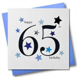 Happy 65th Birthday Blue Stars Card