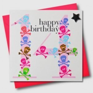 Happy Birthday 14 Pink Skull & Crossbones Card