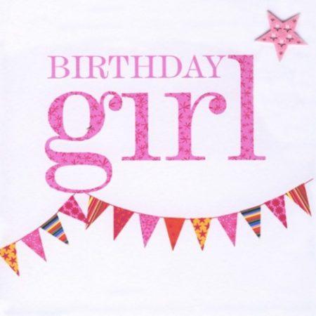 Birthday Girl Pink Bunting Card