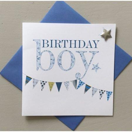 Birthday Boy Blue Bunting Card