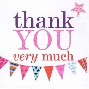 Thank You Very Much Pink Bunting Card