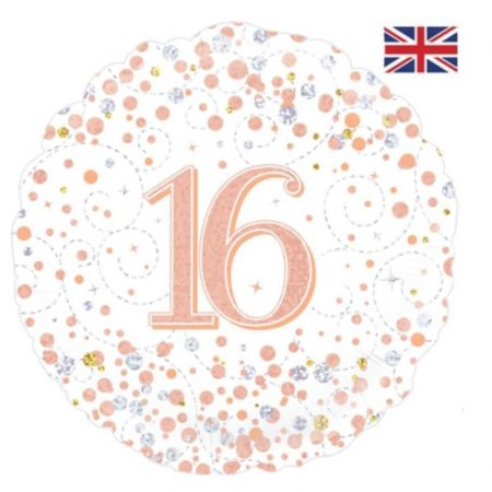 18 inch Age 16 White and Rose Gold Fizz Balloon