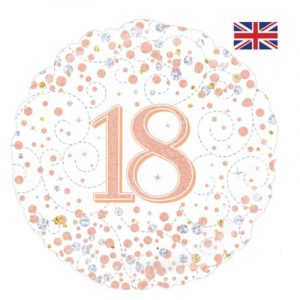 18 inch Age 18 White and Rose Gold Fizz Balloon